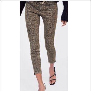 Zara Leopard Print Step Hem Mid Rise Skinny Jeans